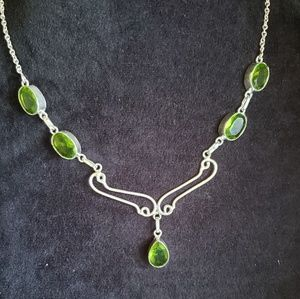 GENUINE Peridot Topaz Necklace Handmade